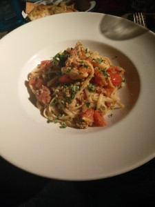 King Prawn, Crab and Chorizo Linguine with white wine, tomatoes, garlic and chilli.